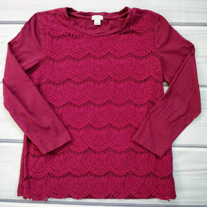 J. Crew Factory Burgundy Lace Overlay Knit Top